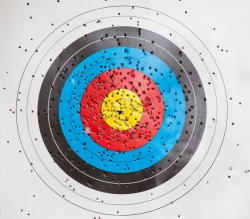 Target for archery with holes